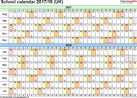 Calendar 2018 Uk School Holidays School Calendars 2017 2018 As Free Printable Excel Templates