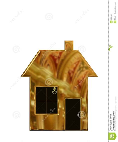 house made of gold digital illustration of a family house made of gold