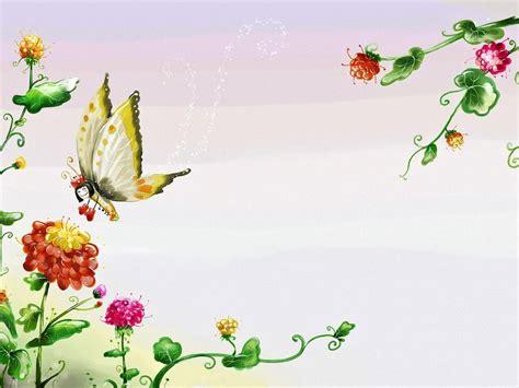 butterfly flowers aesthetic powerpoint templates summer garden clipart 31