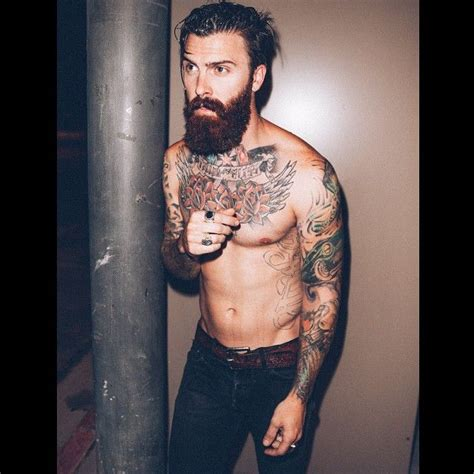 gingerbread man tattoo on finger levi stocke full thick dark red beard shirtless beards