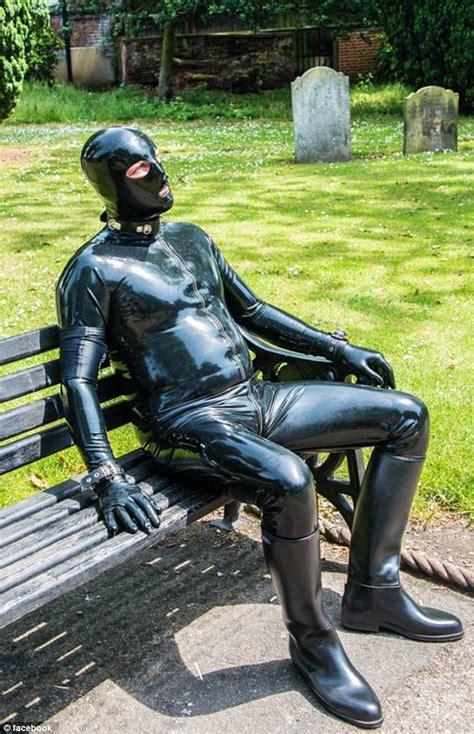 boat driving mask gimp man of essex rubber fetishist dresses in gimp suit