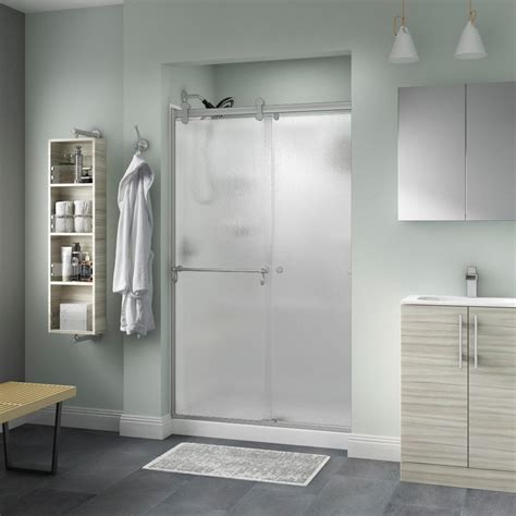 Delta Shower Door Delta Portman 48 In X 71 In Semi Frameless Contemporary Sliding Shower Door In Nickel With