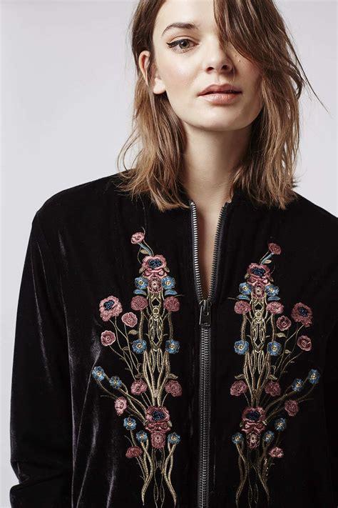 Embroidered Back Jacket lyst topshop velvet embroidered bomber jacket in black