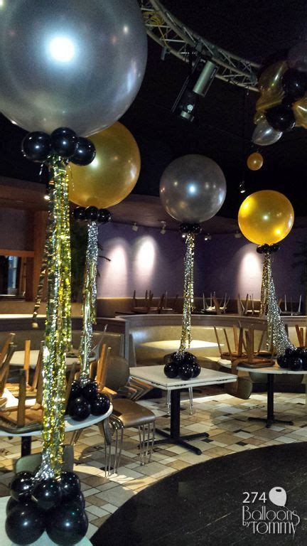silver gold  black  years eve balloon bouquets