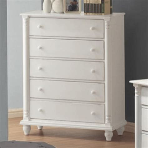 White Chest Of Drawers by Coaster 201185 White Wood Chest Of Drawers A Sofa