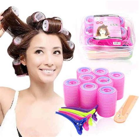 Diskon 2 In 1 Hair Set free shipping 29pcs set new standard rollers hair curlers soft magic hair curl set in
