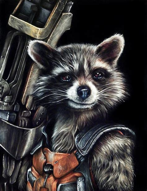 rocket racoon portrait painting by benke33 on deviantart