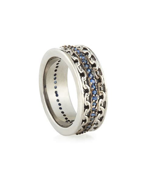stephen webster mens silver ring with blue sapphire in