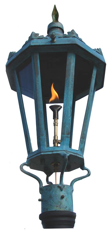 light and gas antique green post mount gas light pro