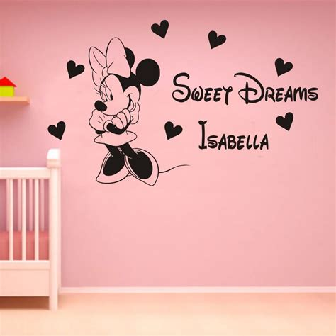 Tokomonster Minnie Mouse 4 Name Wall Decal Sticker Size 23 custom name baby room decoration vinyl decals personalized minnie mouse sweet dreams
