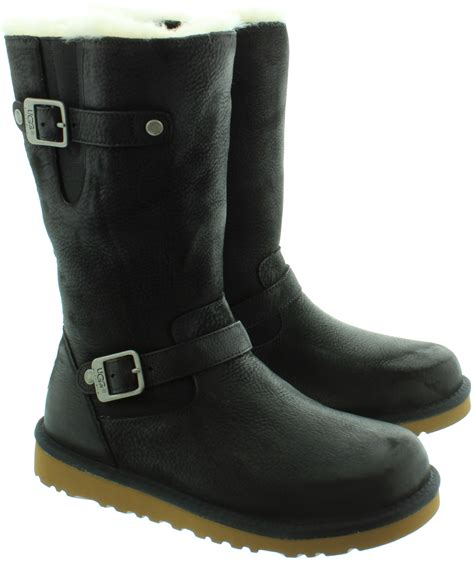 ugg leather kensington sheepskin boots in black in black