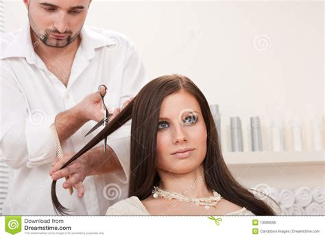 Professional Hair Dresser by Professional Hairdresser Cut With Scissors Royalty Free