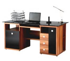luxury computer desk home office modern luxury computer desk designed with brown wooden and black tabletop also