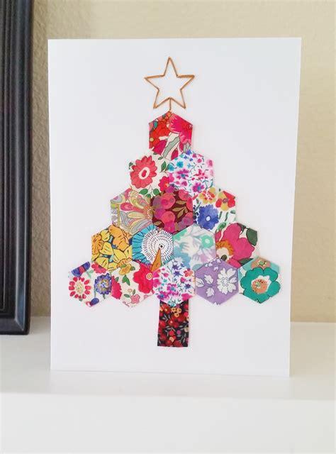 diy hexie christmas tree card mad for fabric