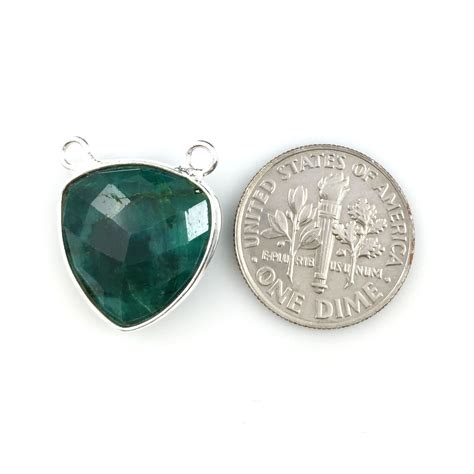 bezel gemstone connector pendant emerald dyed sterling