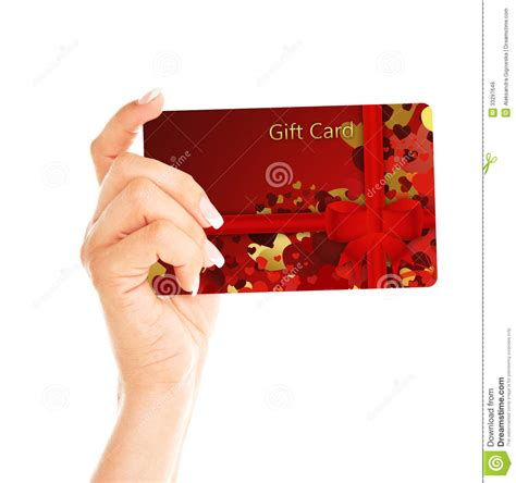 White Gift Card - gift card holded by hand over white royalty free stock image image 33297646