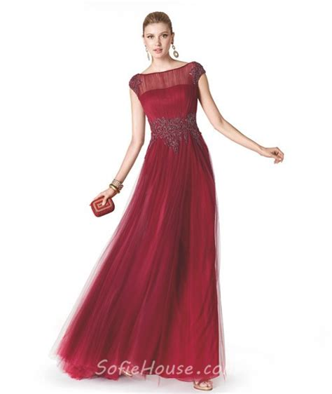 boat neck prom dress a line boat neck cap sleeve red tulle beaded long evening