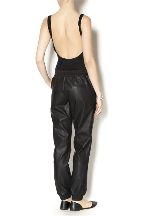 Jogger Mustard mustard seed leather jogger from philadelphia by bonded boutique shoptiques
