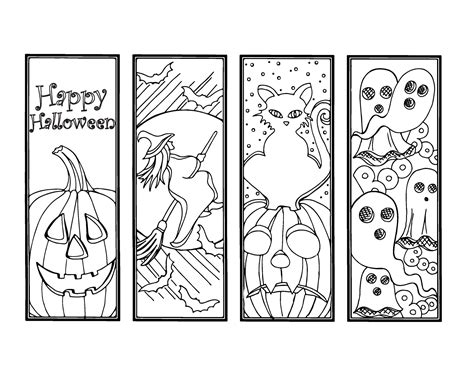 printable halloween bookmarks black white diy halloween bookmarks holiday crafts color your own