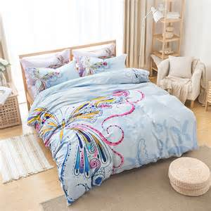 Girls Queen Size Comforter Aliexpress Com Buy Pink And Blue Girls Butterfly Bedding