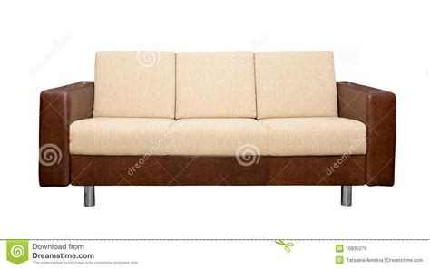 leather and upholstered sofa leather sofa with fabric upholstery royalty free stock