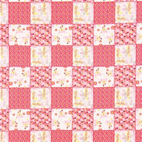 Pink Patchwork - pink teddy animal flannel fabric teddy