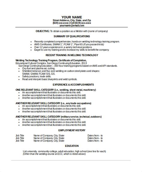 Welding Resume by Welder Resume Template 6 Free Word Pdf Documents
