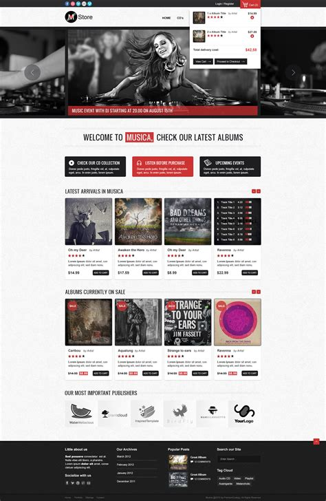 themes store ecommerce freebie musica ecommerce website template psd