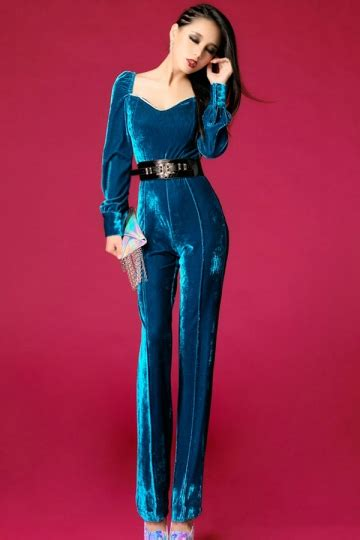 Mermaid Vest Import Bangkok Bkk fancy womens sleeves vintage slim velvet jumpsuit pink