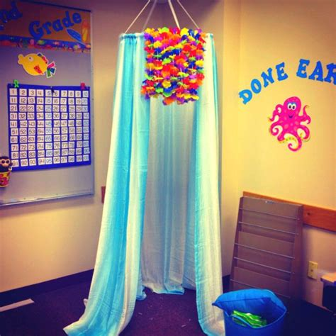 hoop shower curtain beach ocean themed classroom canopy made with a small
