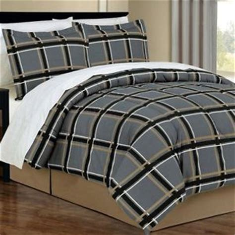 manly bed sets 8pc queen dorm gray black tan plaid masculine comforter sheets bedding