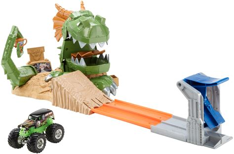 monster truck race track toys wheels monster jam dragon blast play set toys