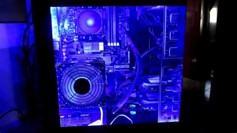 led lights pc acrylic side panel window with blue led lights mod
