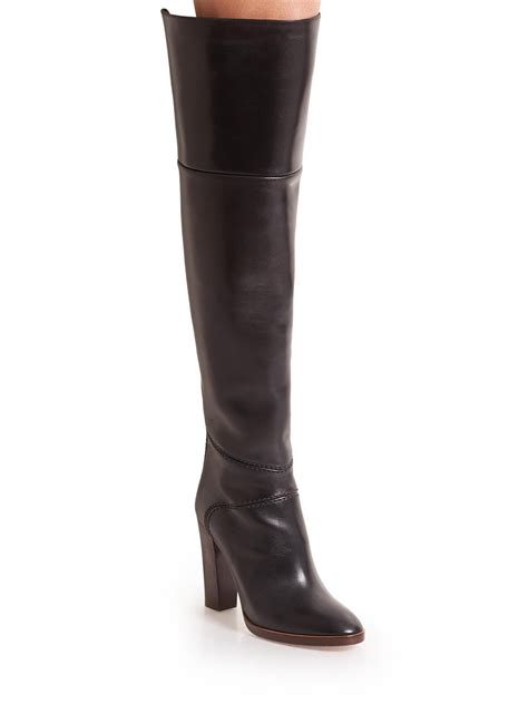 the knee leather boots chlo 233 leather the knee boots in black lyst