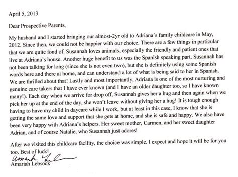 thank you letter to daycare parents huffington child care referrals testimonials