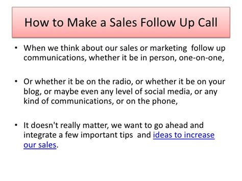 small business marketing tip how to make a sales follow up call
