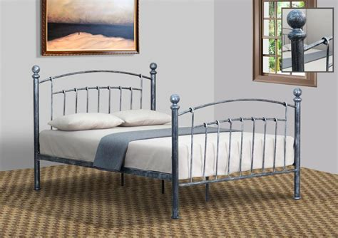 Pewter Bed Frame 3ft 4ft 4ft6 5ft Pewter Or Brass Metal Bed Frame With Rounded Finials Ebay