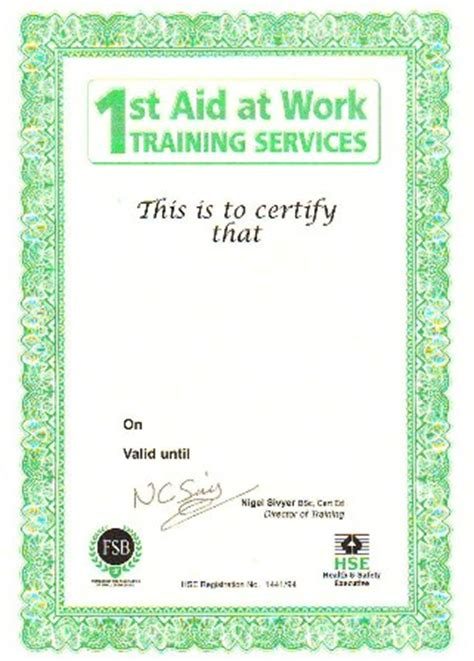 prices : 1st aid at work training services