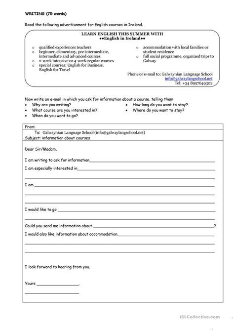email format worksheet asking for information email worksheet free esl