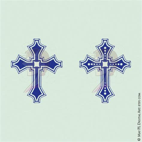 cross clip art navy blue decorative crosses christian