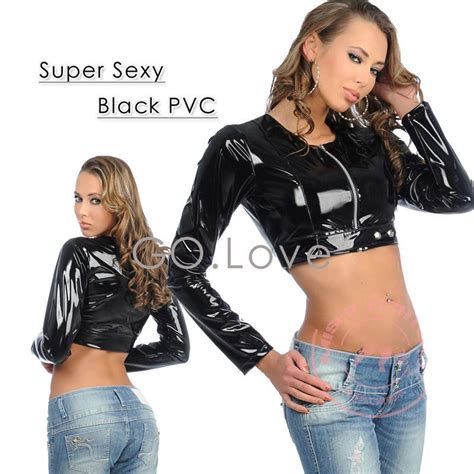 Ballvalvestopkran Pvc Kdj 1 Polos 2017 new pvc shirts zip front sleeve shiny faux pvc black leather in basic