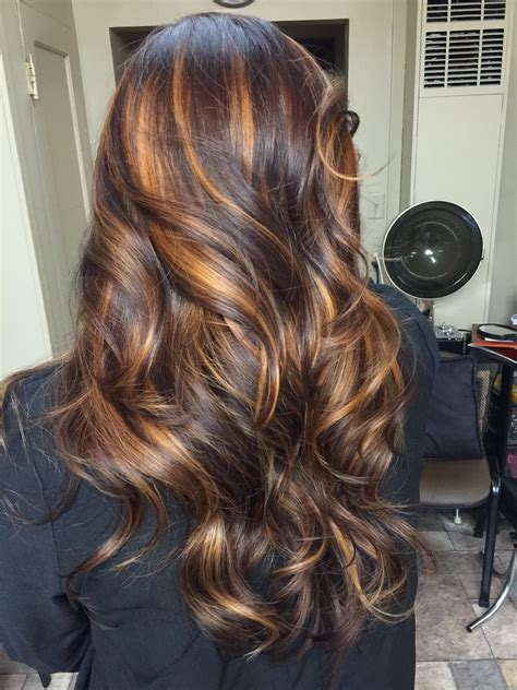 highlights with hair melt underneath dark brown violet with melted caramel highlights