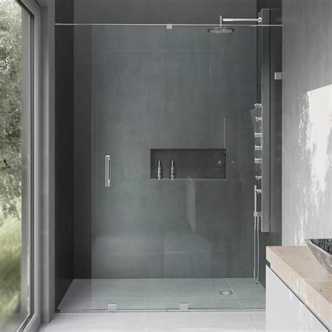 Hardware For Glass Shower Doors Vigo Ryland 48 In X 71 5 In Semi Framed Sliding Shower Door With Hardware In Chrome With 3 8