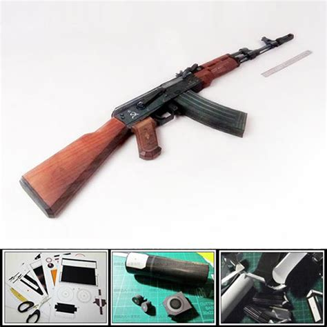 How To Make A Paper Gun Ak 47 - new 2016 3d paper model gun ak 47 assault rifle diy