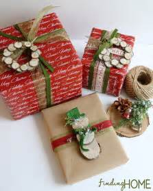 wrapping presents gift wrapping ideas wood slice wreath snowman finding