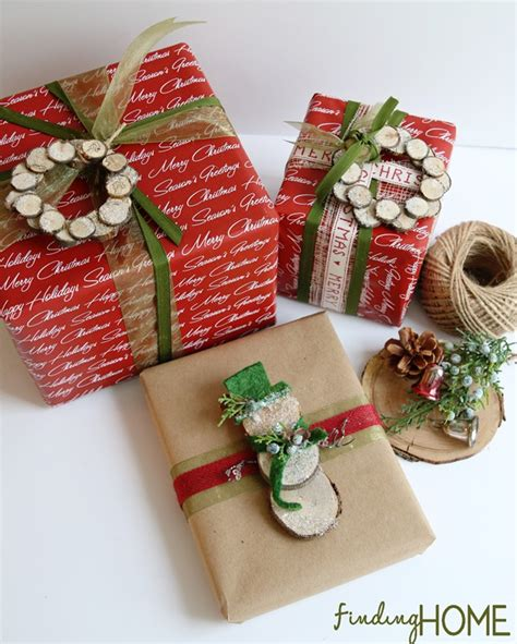 in gift wrap gift wrapping ideas wood slice wreath snowman finding