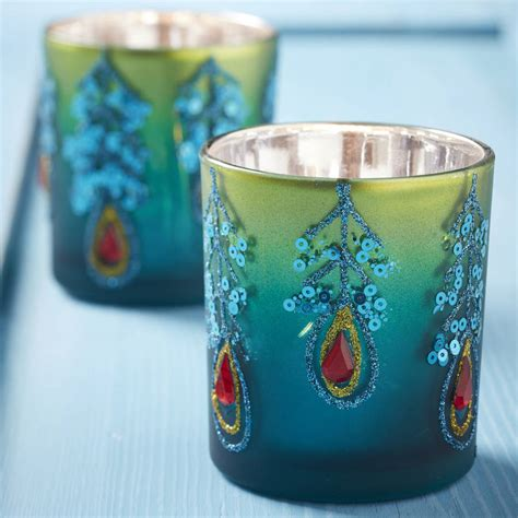 peacock tea light candle holder by the christmas home