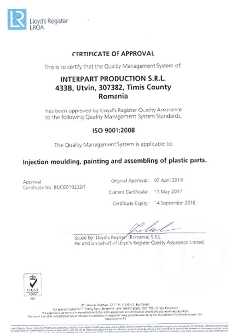 certificate of quality and quantity template interpart production plastic moulding and tool manufacture