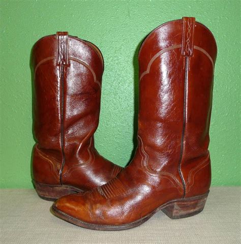 Handmade Leather Cowboy Boots - vtg el dorado handmade brown leather western cowboy work