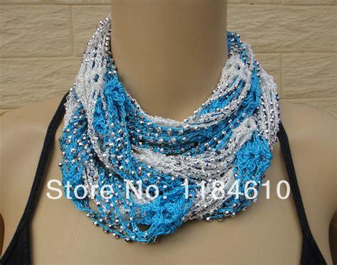 scarf necklace beaded crochet beaded scarf necklace jewelry set of two in